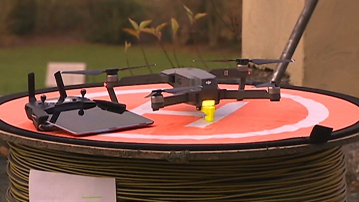 Cable Laying Drone Wires Up Remote Welsh Village Bbc News