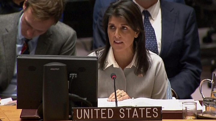 Media playback is unsupported on your device                  Media captionUS ambassador Nikki Haley calls UN hostile to Israel