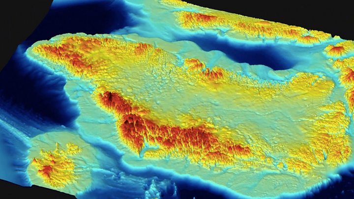the map reveals a hidden world of mountains and canyons