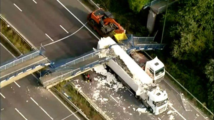 Lorry driver sentenced over M20 bridge collapse crash - BBC News