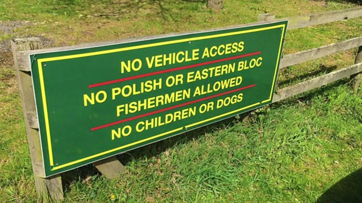 Field Farm Fisheries' 'no Polish' sign taken down