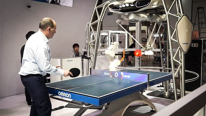 Media playback is unsupported on your device                  Media captionWATCH Omron's ping pong-playing robot adapts its gameplay to suit different opponents
