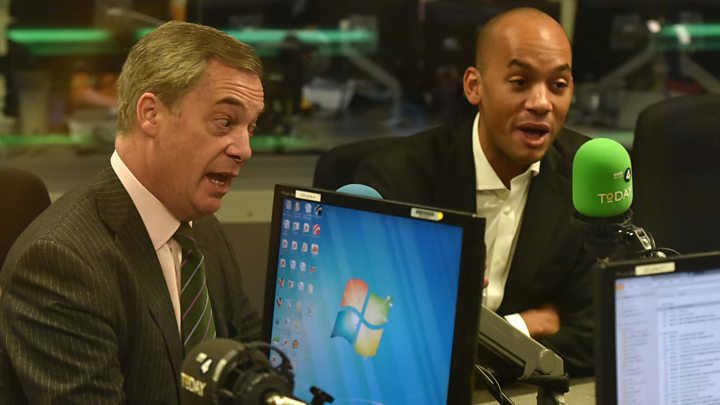 Media playback is unsupported on your device                  Media caption Nigel Farage and Chuka Umunna fall out on the Today programme over cancelled Trump UK visit