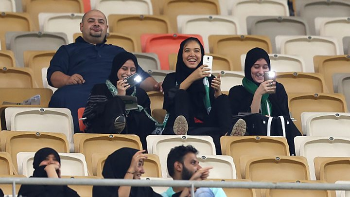 Media playback is unsupported on your device                  Media caption Women in Saudi Arabia have watched football in a stadium in the Kingdom for the first time