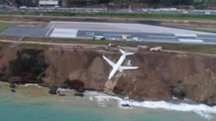 Media playback is unsupported on your device                  Media caption The plane stopped with its nose nearly in the water but no passengers or crew were hurt