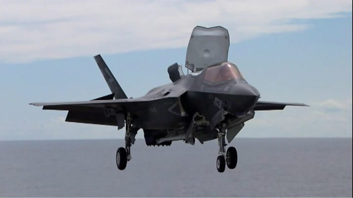 F-35 fighter jet simulator unveiled & Four RAF F-35 fighter jets land in UK - BBC News