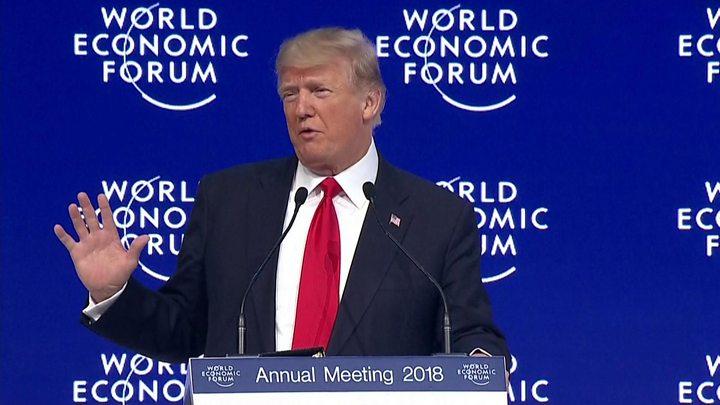 Davos: Trump launches attack on 'predatory' trade