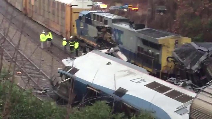 US train carriage flipped after crash