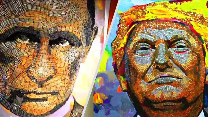 Авторы портрета Путина из гильз выложили Трампа из монет