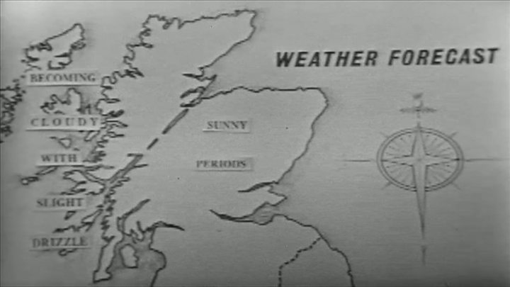 Bbc weather redesign viewers hail scotlands return bbc news bbc newsreader henry gray delivers the weather forecast for scotland on 10 june 1959 publicscrutiny Choice Image