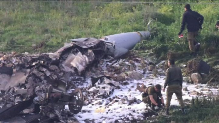 An Israeli F-16 fighter jet crashed amid Syrian anti-aircraft fire