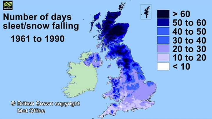 Met Office Map Showing Annual Average Snowfall In UK, 1961 90, 1971 00,  1981 10
