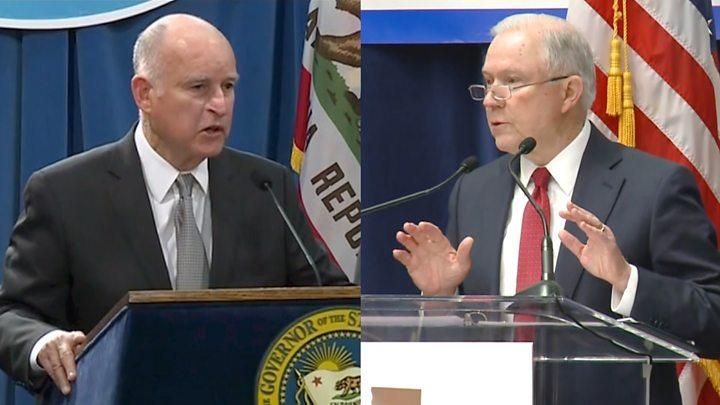 Hasil gambar untuk U.S. Attorney General files lawsuit against California's governor, attorney general