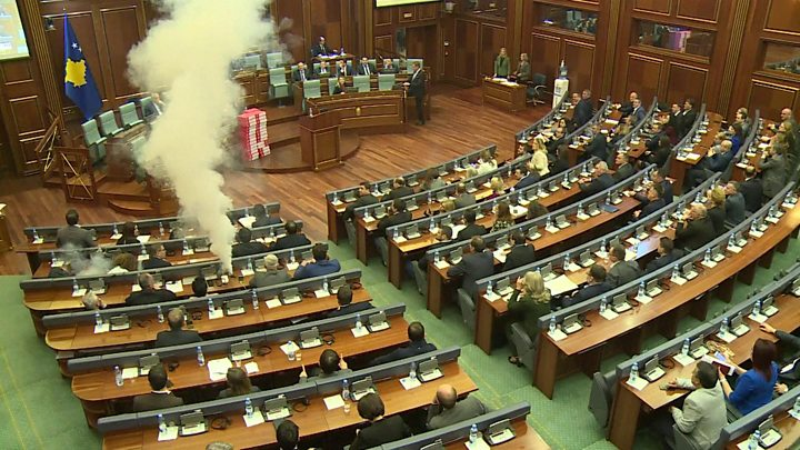 Opposition lawmakers set off tear gas in Kosovo Parliament