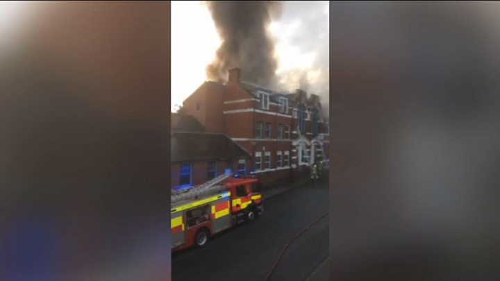 Fire crews tackle blaze at old club