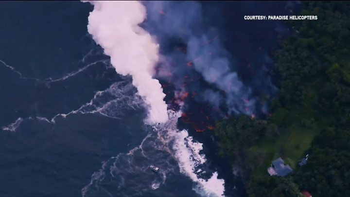 Lava Fountains Form From Kilauea Volcano in Hawaii's Leilani Estates