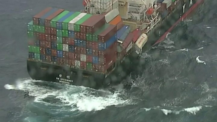 Ship sheds 83 containers off Australia