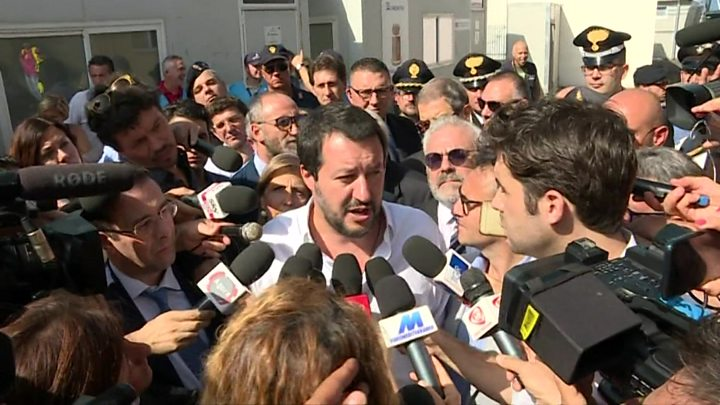 Media playback is unsupported on your device                  Media caption On a visit to Sicily Matteo Salvini said Italy must increase its deportations of migrants