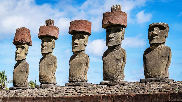 How hats were placed atop the easter island statues bbc news