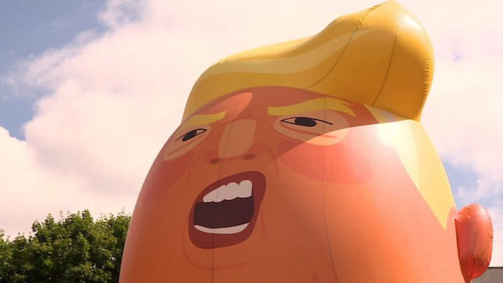 'Trump Baby' balloon takes flight in central London amid protests