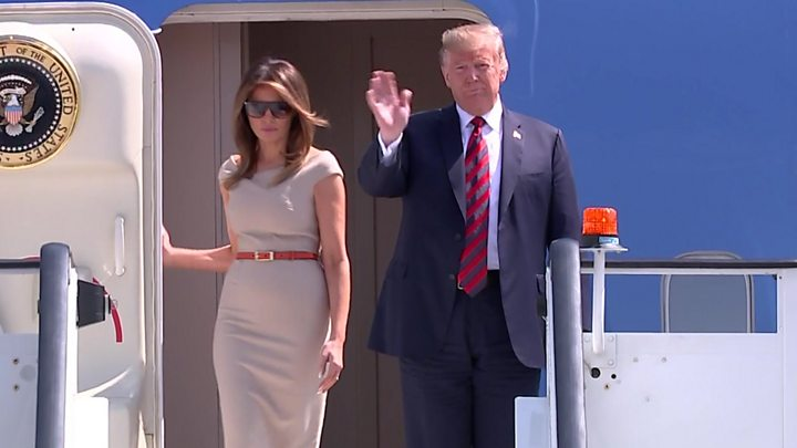 Media captionUS President Donald Trump arrived at Stansted Airport for a two-day working visit