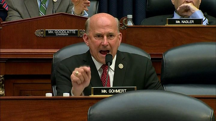 Media playback is unsupported on your device                  Media caption Republican Louie Gohmert asked Peter Strzok how many times he lied to his wife