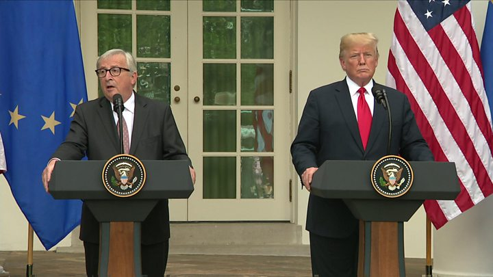 Trump And Eus Juncker Pull Back From All Out Trade War Bbc News