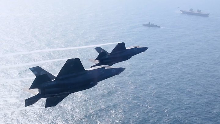 Media playback is unsupported on your device                  Media caption F-35 fighter jets prepare to land for first time on a UK carrier