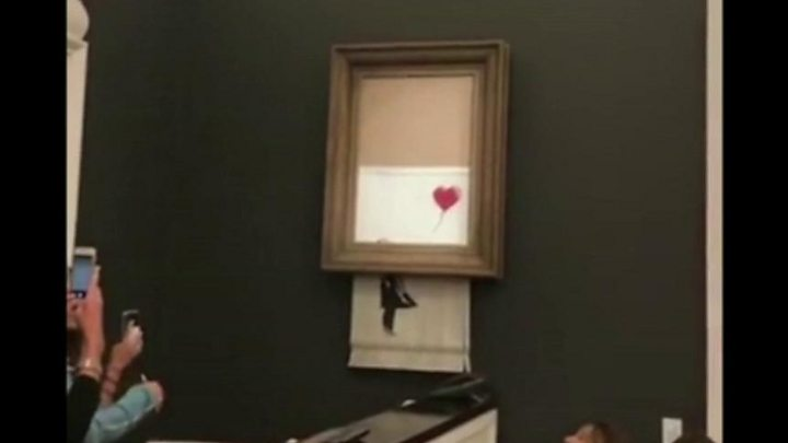 Woman To Keep Shredded Banksy Girl With Balloon Painting Bbc News