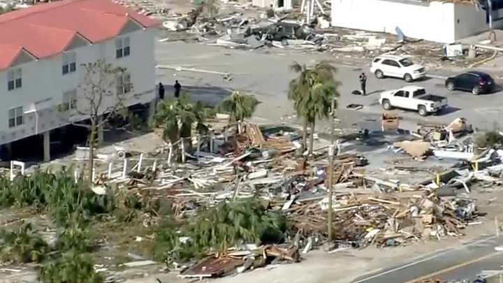 Aerial footage shows hurricane destruction