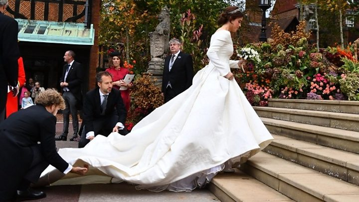 Princess Eugenie The Best Moments From A Windswept Wedding Bbc News