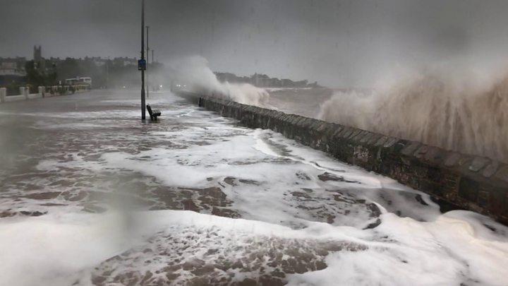 storm callum flood defences fail and homes without power bbc news