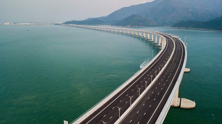 world s longest sea crossing hong kong zhuhai bridge opens bbc news
