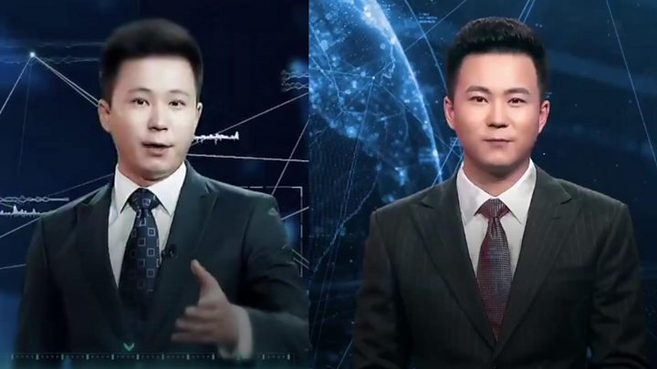 And finally, a fake newsreader for China's real news