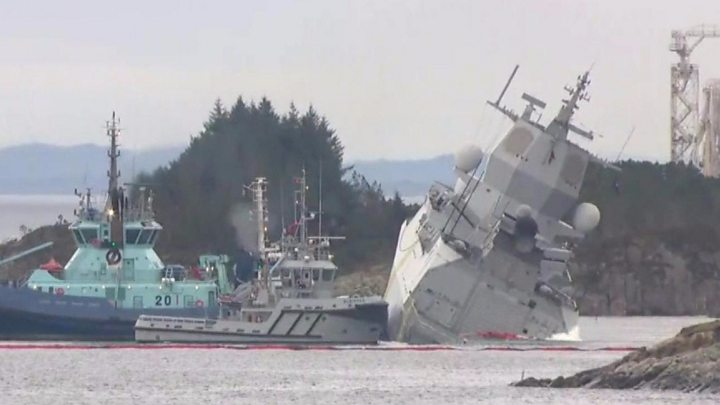 Helge Ingstad: Norway's warship collides with tanker in ...