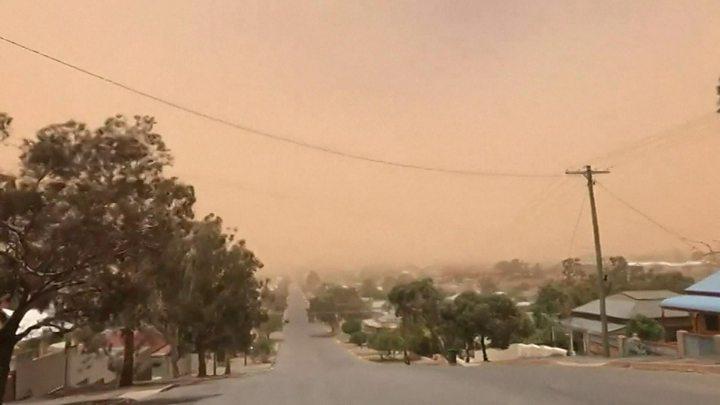 australia dust storm health warning as skies change colour bbc news