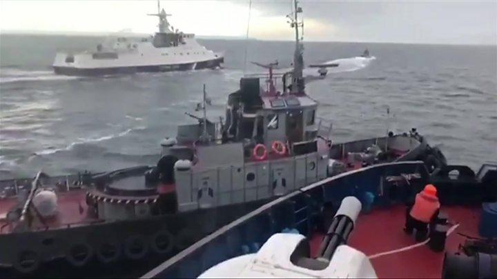 Russian ship collides with Ukrainian tug boat