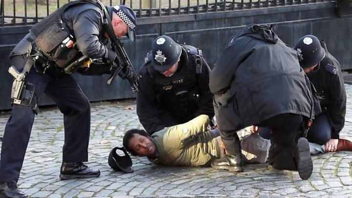 Man held by armed police at UK Parliament