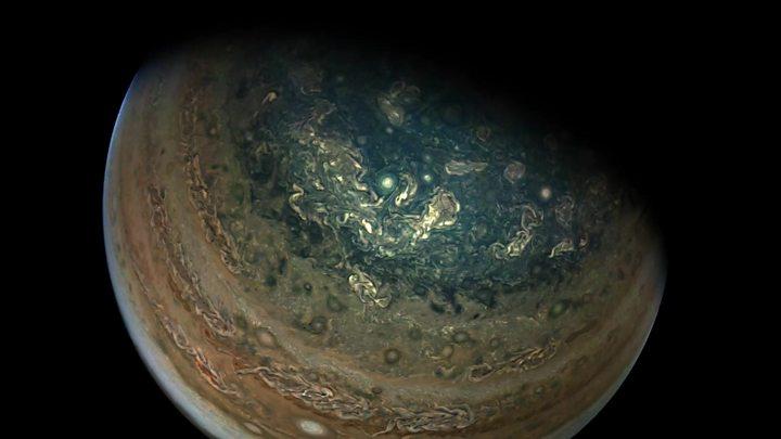 Nasa's Jupiter mission Juno reveals giant polar storms