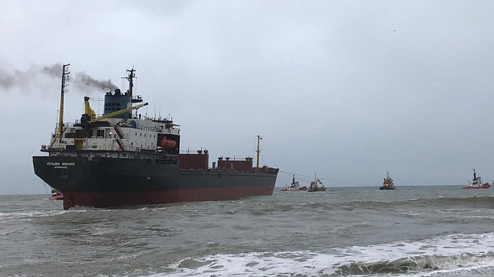 Grounded Russian cargo ship to undergo inspection