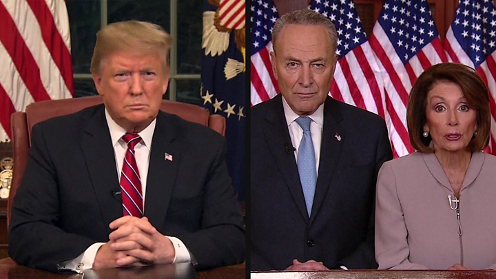 Image result for Images of Trump and government shutdown on Jan. 9, 2019