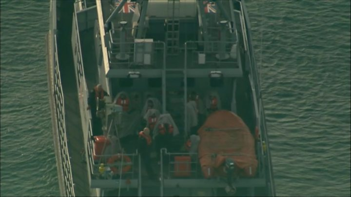 Channel migrant boat off Dover held 34 people