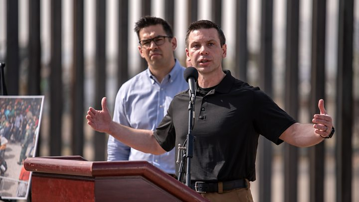 Kevin McAleenan speaks in El Paso, just down the road from a makeshift detention centre