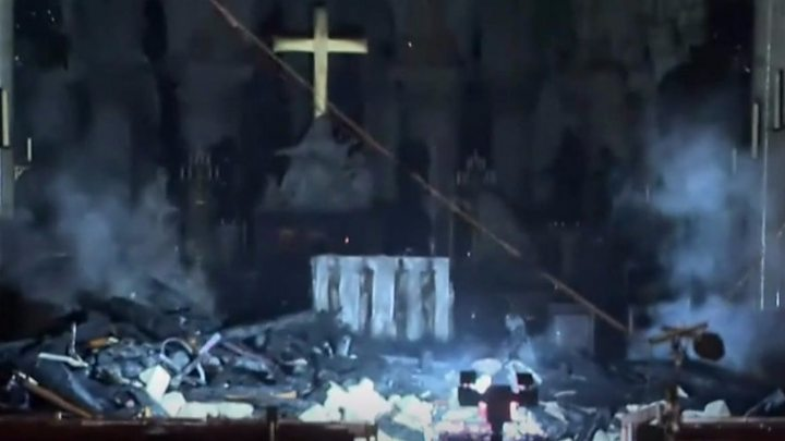Media playback is unsupported on your device                  Media captionA look inside fire-ravaged Notre Dame cathedral