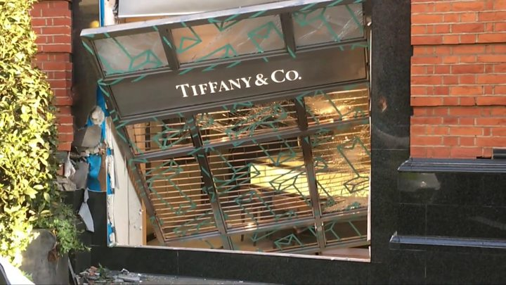 Tiffany ram raid: Van driven into London jewellery store