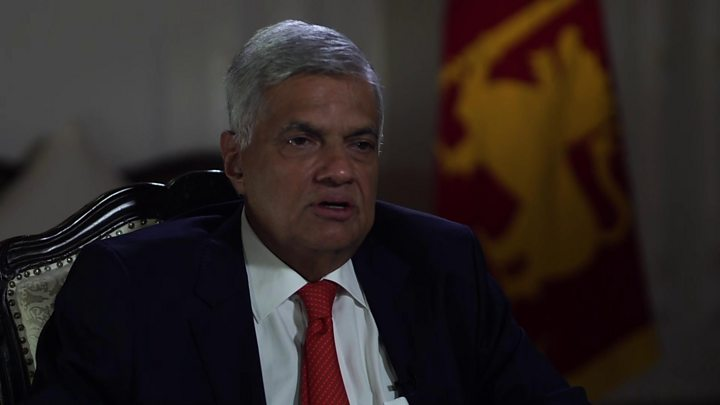 Media playback is unsupported on your device                  Media caption Ranil Wickremesinghe spoke to the BBC