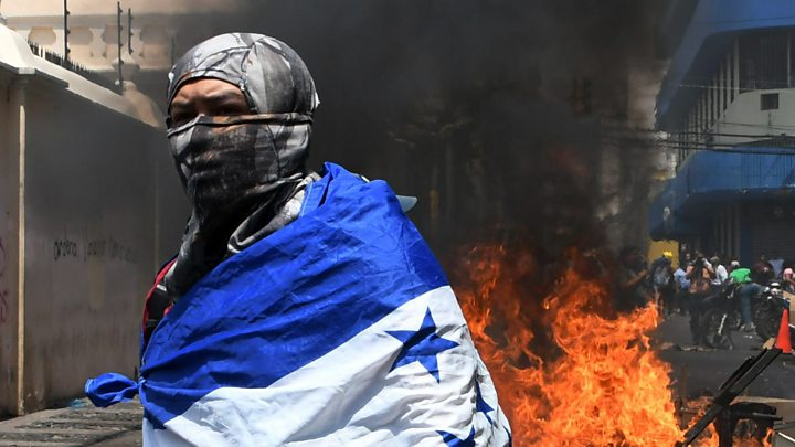 Honduras Protests Buildings Burn During Clashes Over Reforms Bbc News