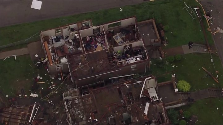 Aerial shots show tornado destruction