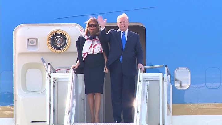 The moment Trump lands for UK state visit