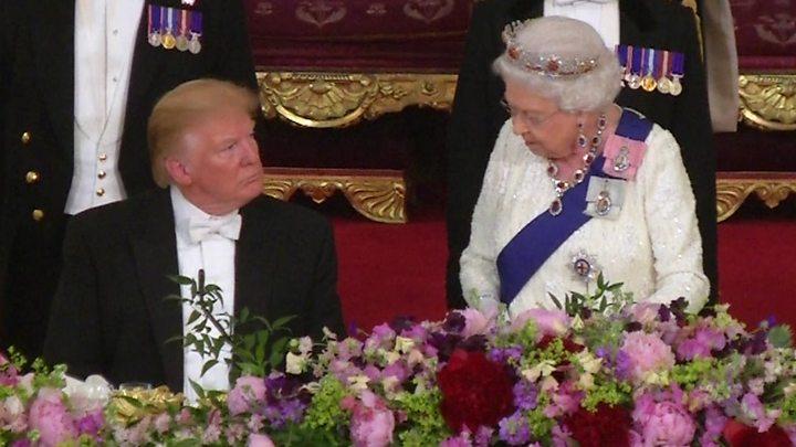 aea640a77a Donald Trump praises 'eternal friendship' at state banquet - BBC News